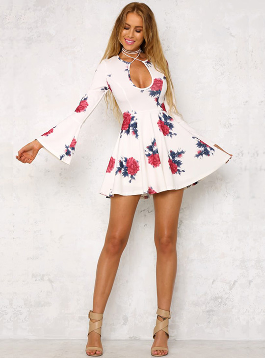 Floral Feels Dress White